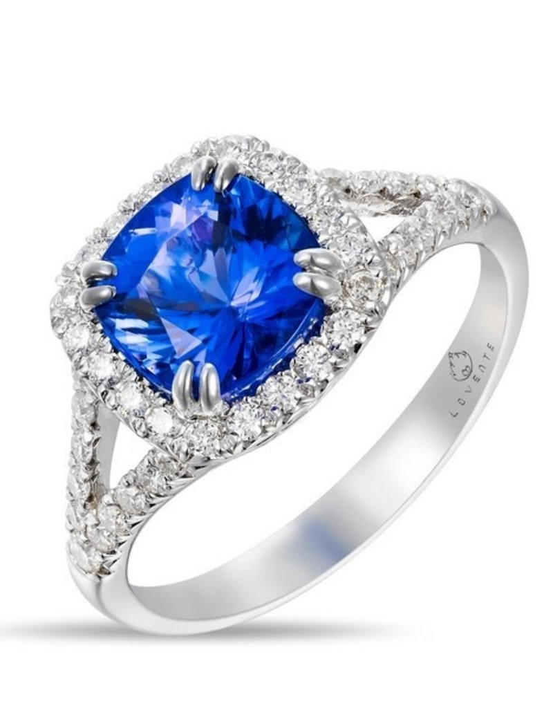 Luvente White Gold Tanzanite & Diamond Ring
