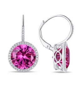 Luvente White Gold Pink Corundum Drop Earrings