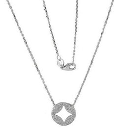 Luvente White Gold Pave Diamond Cutout Disc Necklace