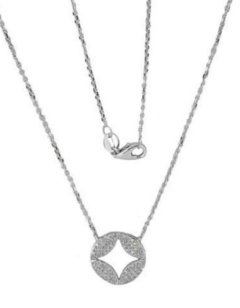 Luvente White Gold Pave Diamond Cut Out Disc Necklace