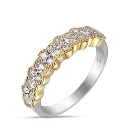 Luvente Two Tone Diamond Cluster Band