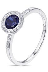 Luvente White Gold Petite Blue Corundum Ring