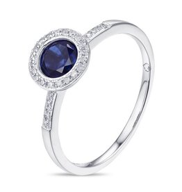 Luvente White Gold Petite Blue Corundum Ring