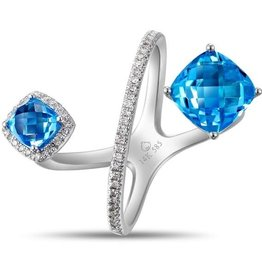 Luvente White Gold Blue Topaz Bypass Ring