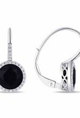 Luvente White Gold Black Onyx Halo Drop Earrings