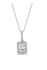 Luvente White Gold Diamond Baguette Necklace