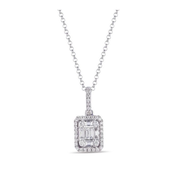 Luvente White Gold Diamond Baguette Necklace