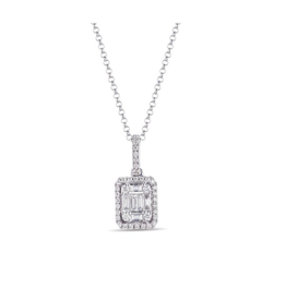 White Gold Diamond Baguette Necklace