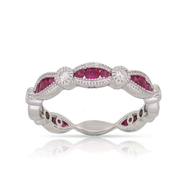 Luvente White Gold Ruby & Diamond Scalloped Band