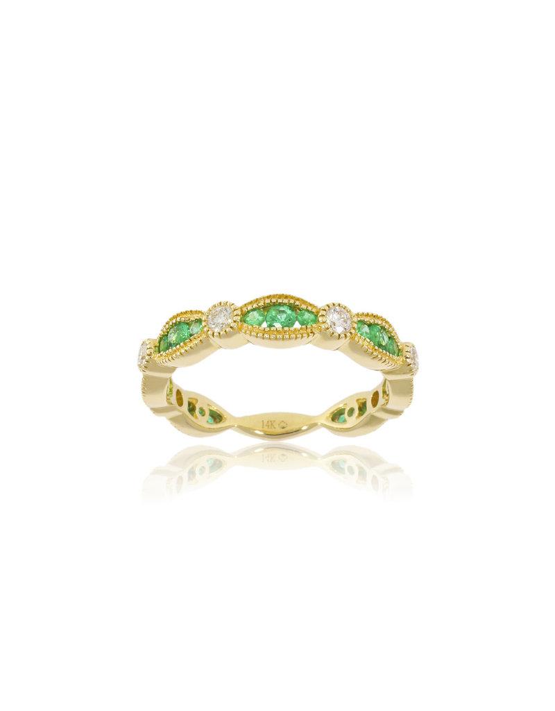 Luvente Yellow Gold Emerald & Diamond Scalloped Band