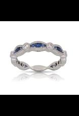 Luvente White Gold Sapphire & Diamond Scalloped Band