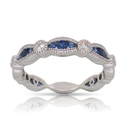 Luvente White Gold Sapphire & Diamond Scalloped Band