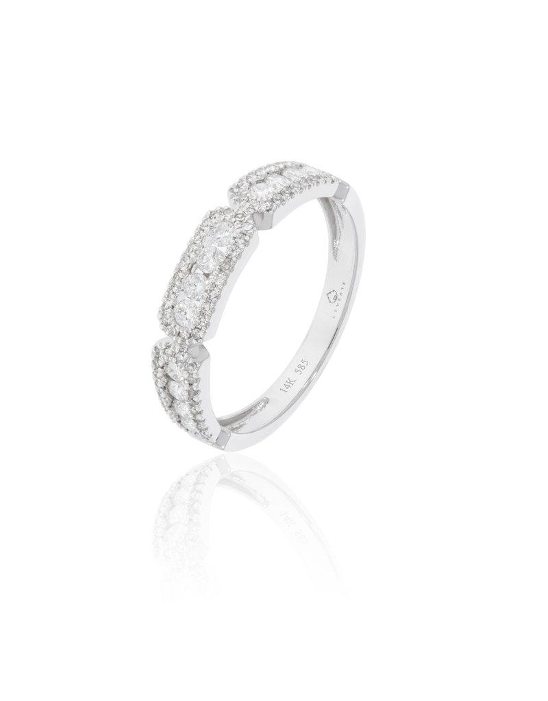 Luvente White Gold Diamond 3-Section Band
