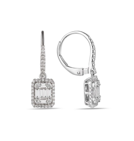 Luvente White Gold Baguette Diamond Drop Earrings