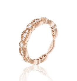 Luvente Rose Gold Scalloped Diamond Band