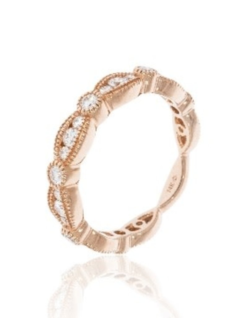Luvente Rose Gold Scalloped Diamond Band