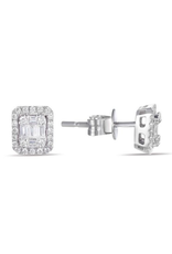 Luvente White Gold Diamond Baguette Halo Earrings
