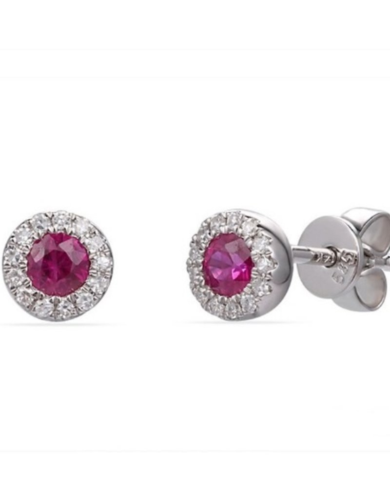Luvente White Gold Ruby Halo Studs