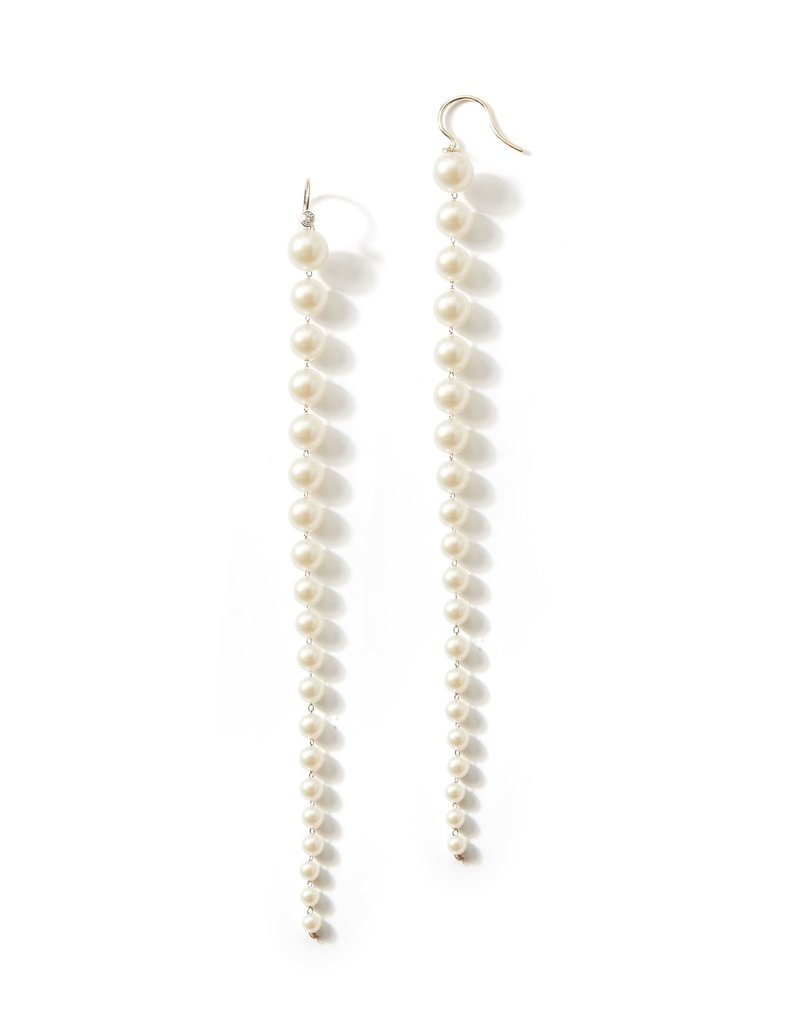 Mizuki 14k Long Akoya Dia Drop Earrings