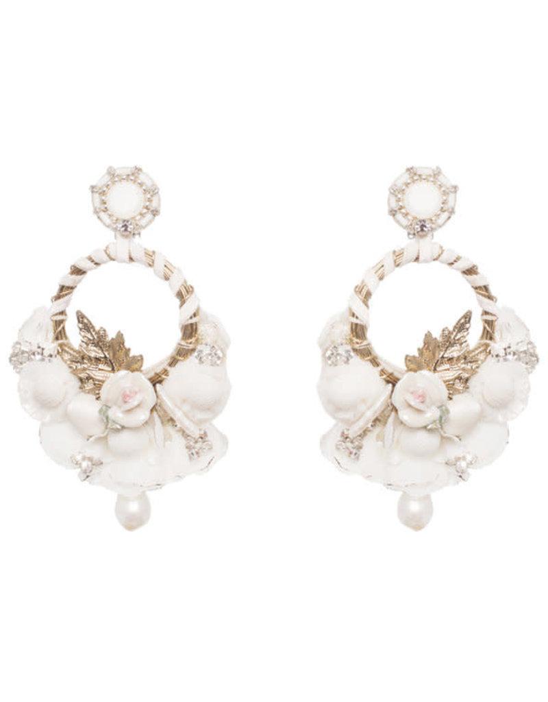 Ranjana Khan BB-715E Yvonne White Earrings