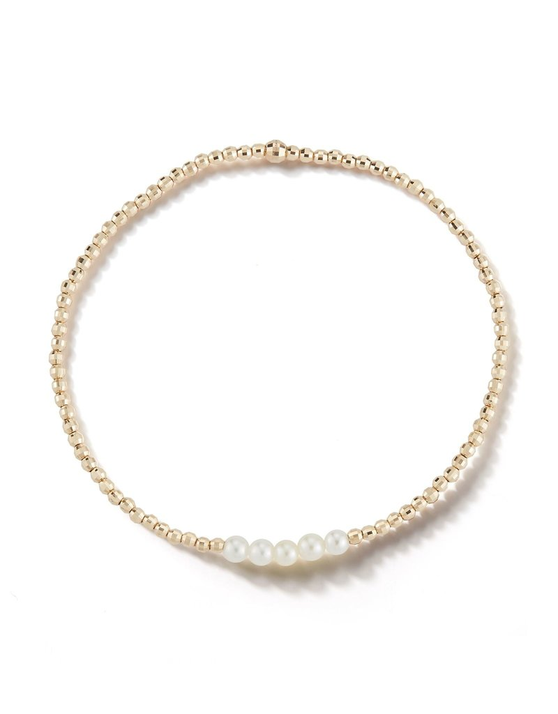 Mizuki 14k Sparkle Bead 5 Pearl Bracelet