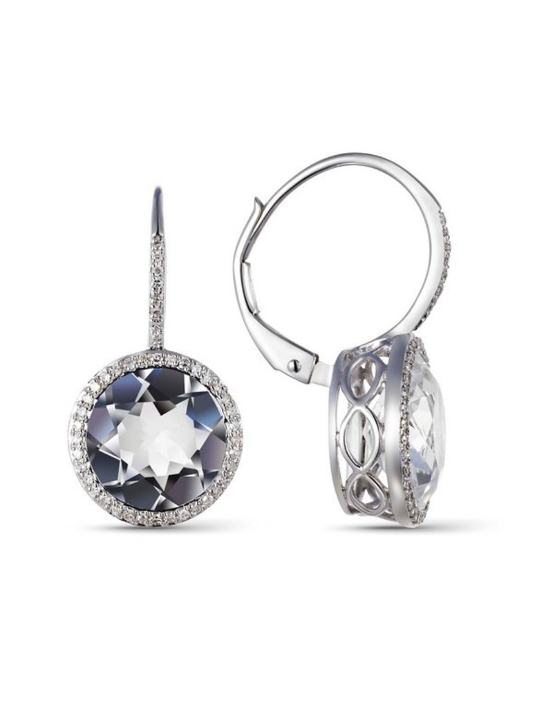 White Gold White Topaz Drop Earrings & Diamond Halo