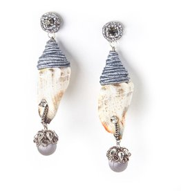 Ranjana Khan Grey Shell Earrings