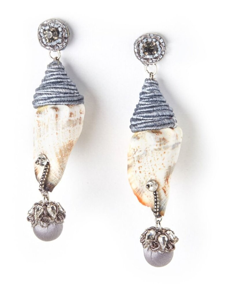 Ranjana Khan Grey Shell Earrings