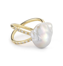 Mizuki Yellow Gold Baroque Pearl Ring