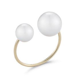 Mizuki 14KY Dbl Wht Pearl Ring