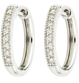 Jude Frances White Gold Camelia Diamond Hoop Earrings