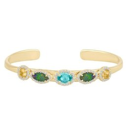 Eden Presley Yellow Gold Multi Gem Cuff Bracelet
