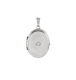 White Gold Oval Four-Photo Locket