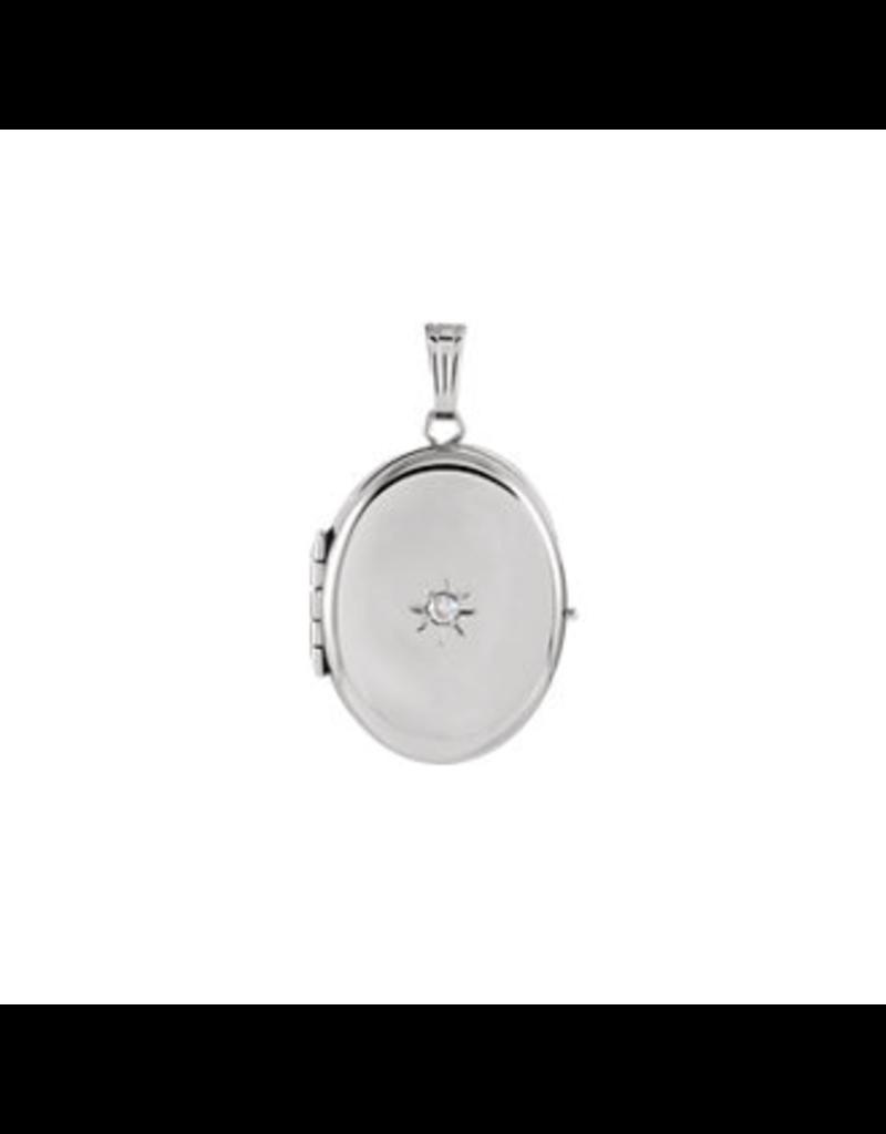 White Gold Oval Four-Photo Locket