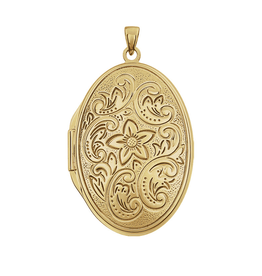 14k Lg Oval 4-pic Engraved Locket