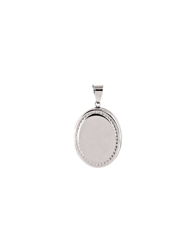 White Gold Oval Beaded Edge Locket