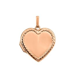 Rose Gold Rope Detail Heart Locket