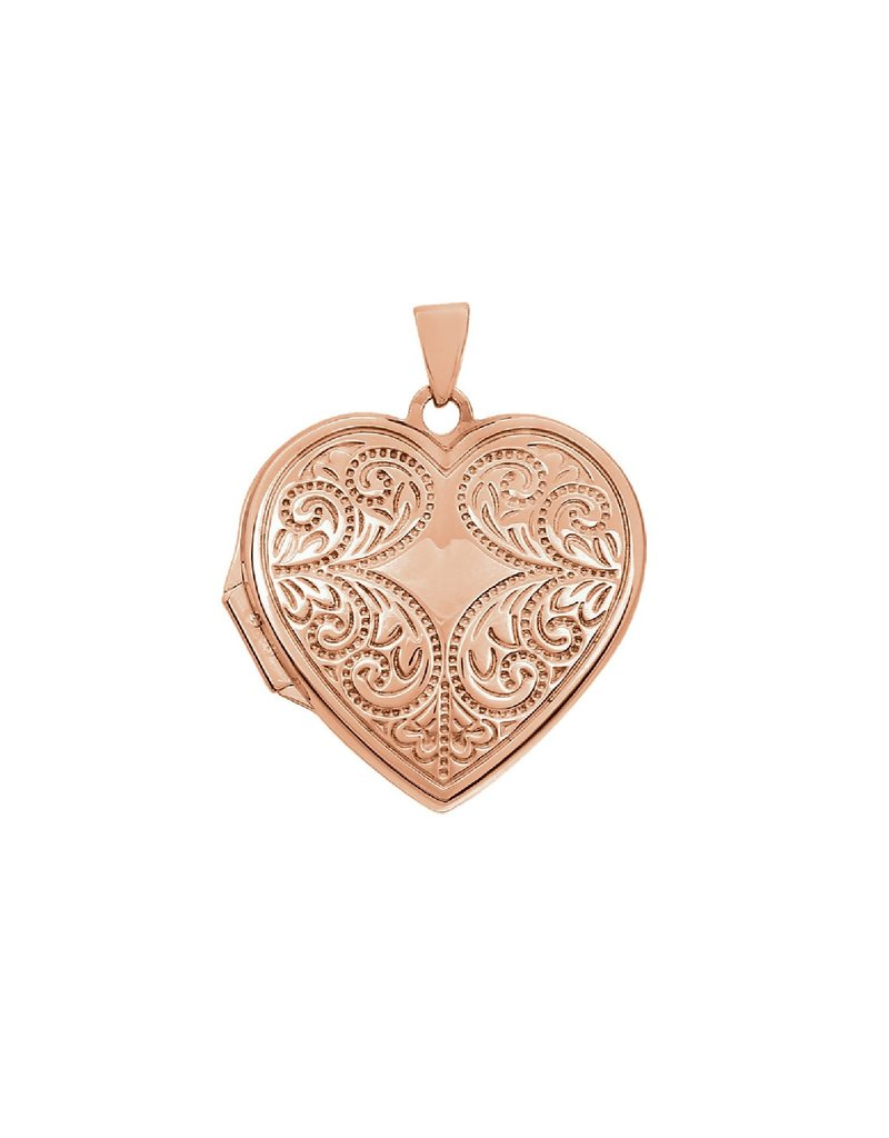 Rose Gold Engraved Heart Locket