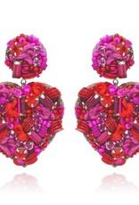 Sagrado Corazon Drop Earrings Fuchsia