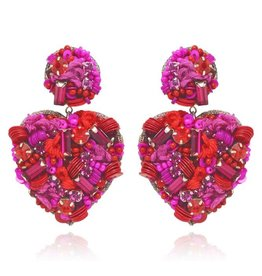 Sagrado Corazon Drop Earrings Fuchsia