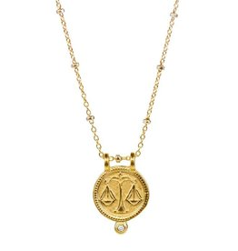 Libra Zodiac Medallion Necklace