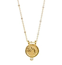 Aquarius Zodiac Medallion Necklace