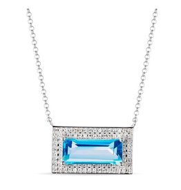 Luvente Deco Inspired Blue Topaz Necklace