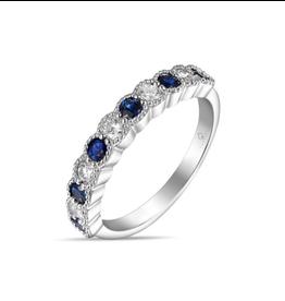 Luvente White Gold Sapphire & Diamond Ring
