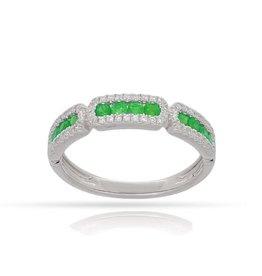 Emerand & Diamond Halo Stack Ring