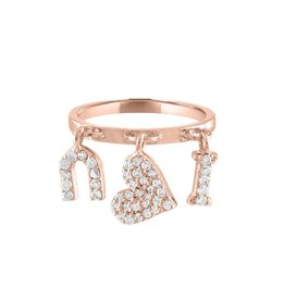 Eden Presley Rose Gold I Heart U Charm Ring