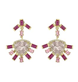 Eden Presley Morganite, Ruby and Tourmaline Earrings