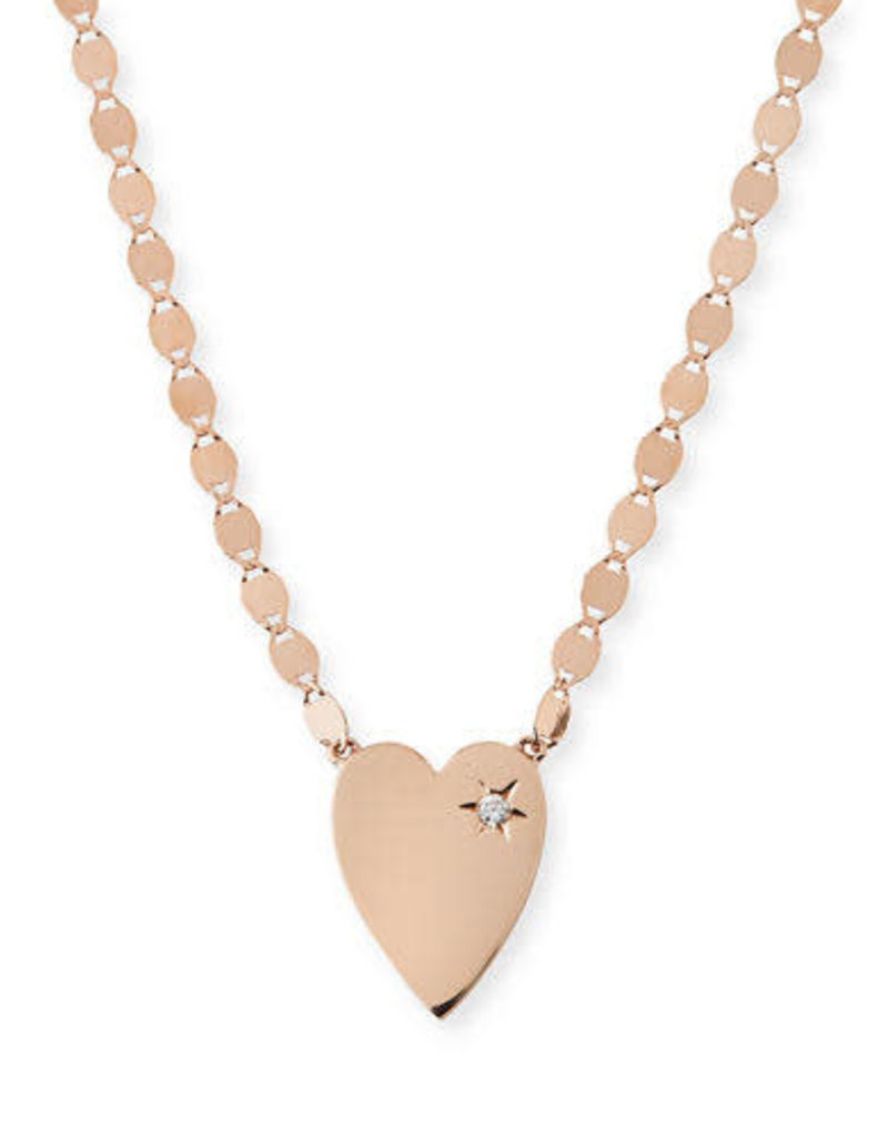 Lana Rose Gold Small Heart Diamond Necklace