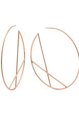 Lana Rose Gold Wire Diagonal Cross Eclipse Hoop Earrings
