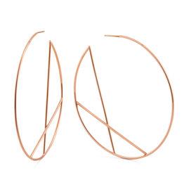 Lana Rose Wire Diagonal Cross Eclipse Hoops